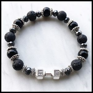 Onyx hematite lava rock live lift barbell bracelet